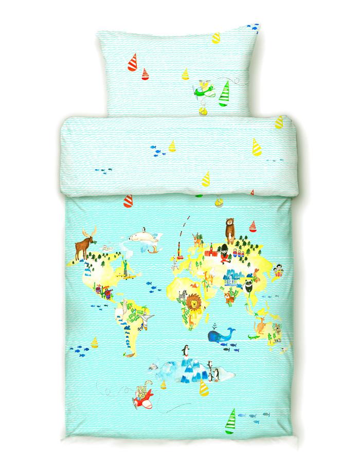 Bettwäsche Kinder Mako Satin.Beties Entdecke Die Welt Mako Satin Kinderbettwasche 135x200 Cm
