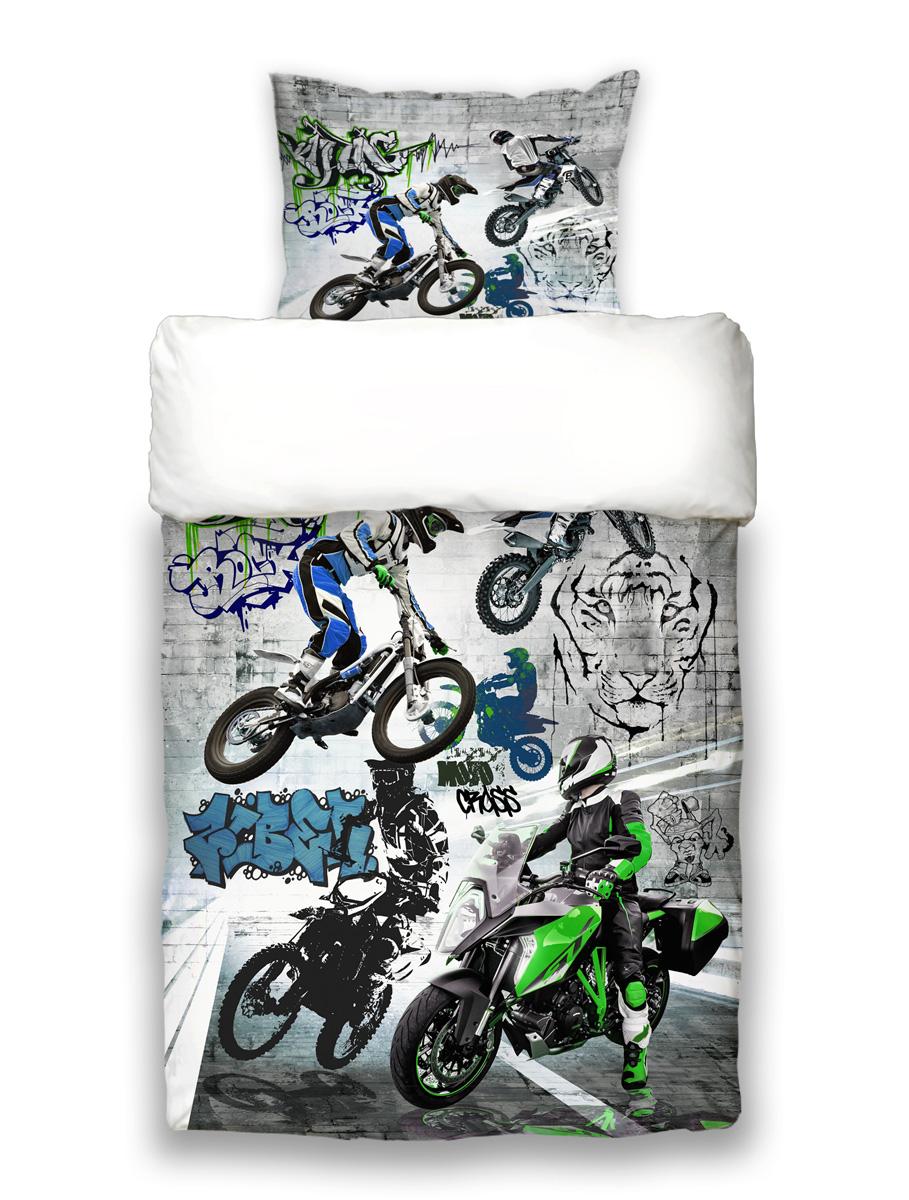 Beties Motocross Graffiti Jugend Wende Bettwäsche Ca 155x220 Cm